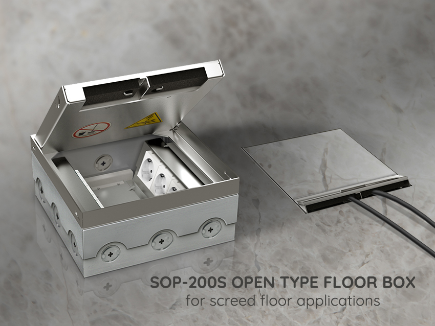 SOP-200S OPEN TYPE FLOOR BOX for screed floor applications