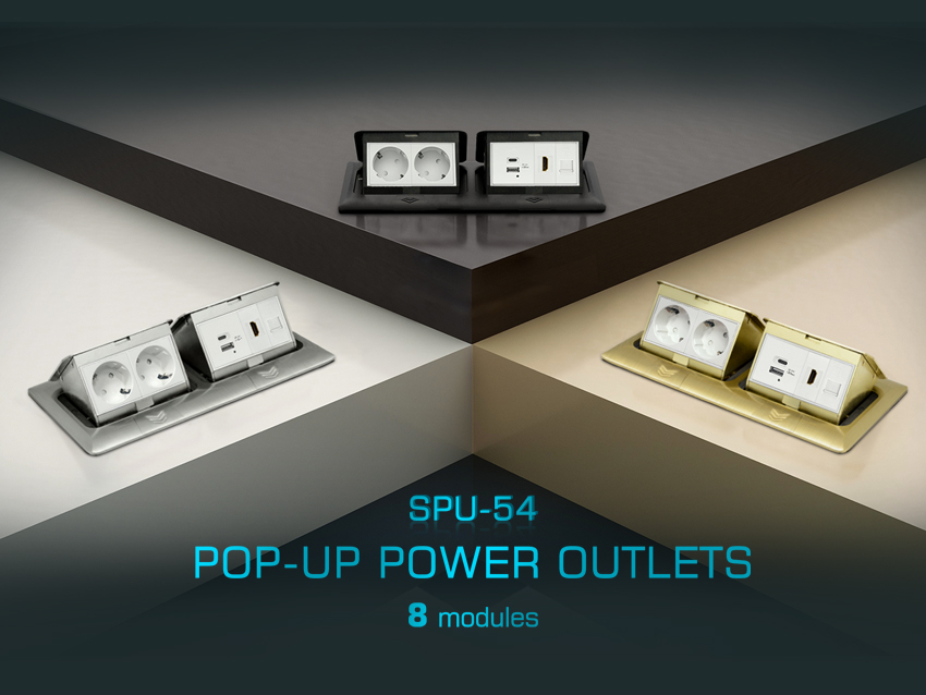 Introducing our latest range of pop-up power outlets with 8 modules capacity